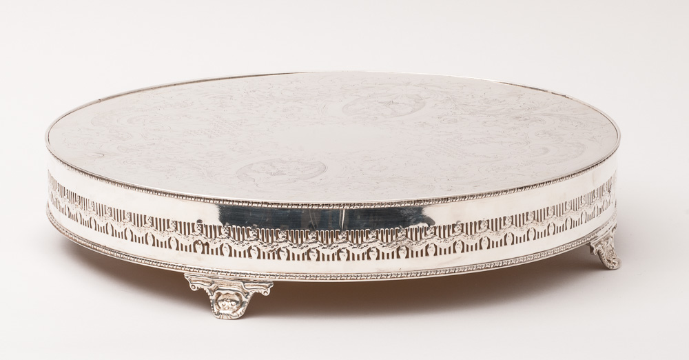 wedding cake stand round base silver plate 16 cm